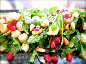 Cauliflower, chickpeas and pomegranates