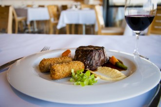 Esca Bimbadgen Restaurant recipe for Beef Fillet with Braised Oxtail Croquettes and Shiraz Butter.