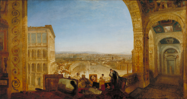J.M.W. Turner, Rome, from the Vatican. Raffaelle, Accompanied by La Fornarina, Preparing his Pictures for the Decoration of the Loggia, exhibited 1820. Photo: © Tate, 2013