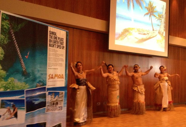 Dancing at Samoa Tourism Authority ASTW lunch