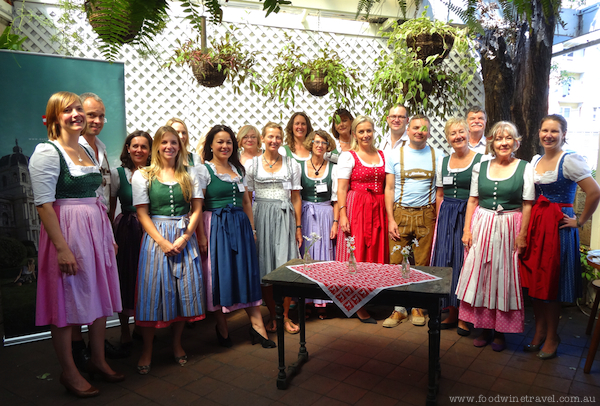 Members of Australian Society of Travel Writers dressed in dirndls.