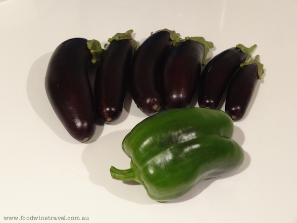 Eggplants and capsicum