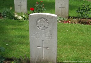Grave of William Killigrew at Brewery Orchard Cemetery, France