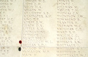 Name of Septimus Killigrew on wall at Villers-Bretonneux