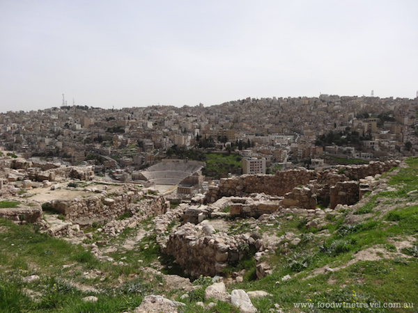 View of the Roman amphitheatre from the Citadel in Amman, Jordan.