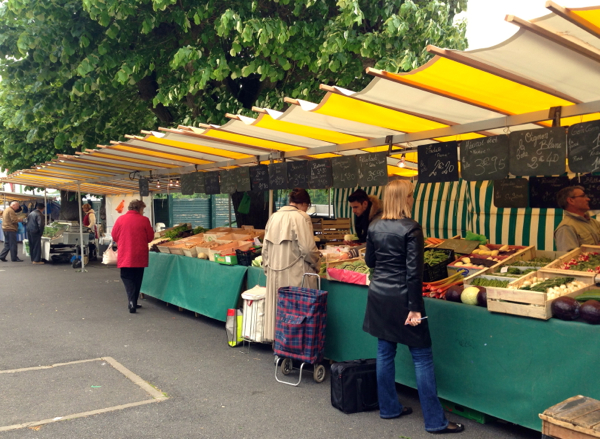 Fresh food market at Conflans Ste Honorine on the River Seine