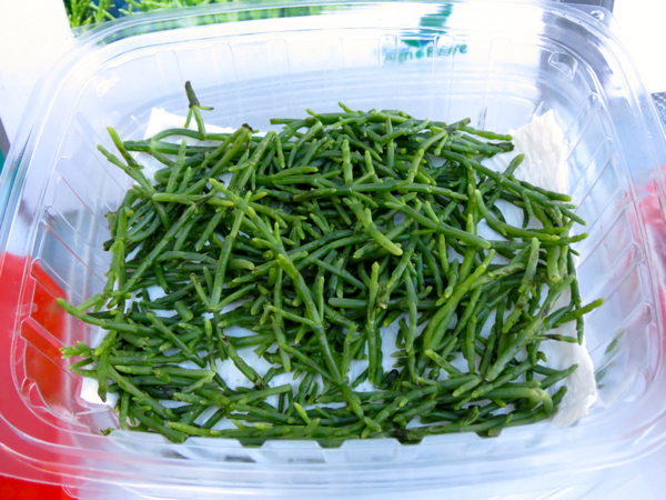 Sea asparagus.The farmers market at the Royal Hawaiian Centre in Honolulu, every Tuesday from 3pm to 7pm, has a great range of products that highlight Oahu's wonderful bounty.