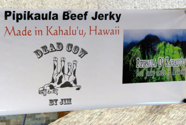 Beef jerky. The farmers market at the Royal Hawaiian Centre in Honolulu, every Tuesday from 3pm to 7pm, has a great range of products that highlight Oahu's wonderful bounty.