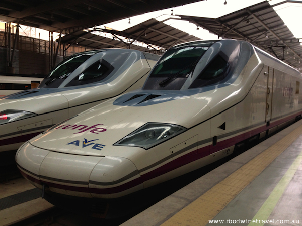 www.foodwinetravel.com.au Renfe train, Spain