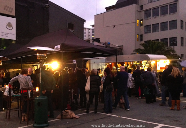 www.foodwinetravel.com.au Oyster Saloon in Cuba Street carpark, Wellington on a Plate, New Zealand food festivals.