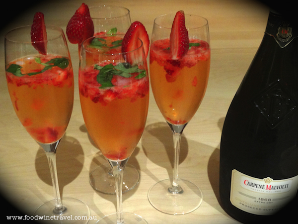Celebrating with Prosecco in a Strawberry Basil Cocktail
