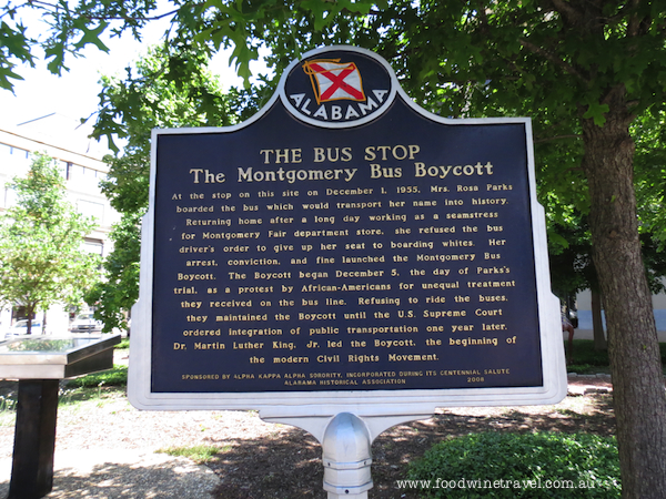 www.foodwinetravel.com.au, y'all, Civil Rights Memorial, Montgomery, Alabama, Southern Poverty Law Centre, Ku Klux Klan, Civil Rights Trail in Montgomery, Rosa Parks Museum, Martin Luther King Jnr, Ghandi, Dexter Avenue Baptist Church, We Shall Overcome, Civil Rights Movement, Governor Wallace, Strange Fruit, Gulf oysters.