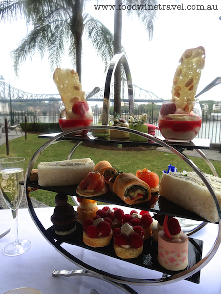 www.foodwinetravel.com.au, Champagne High Tea, Customs House Brisbane,  Good Food Month, afternoon tea, afternoon tea places in Brisbane, Story Bridge, high tea places in Brisbane, Perrier-Jouët Champagne, La Maison du Thé, smoked salmon on blinis, salmon pearls, chicken and dill ribbon sandwiches, vegetarian roulade, scones, petit fours, macarons.