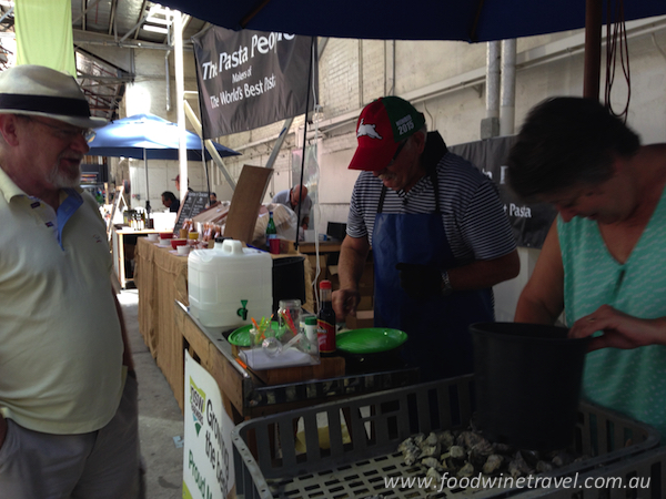 www.foodwinetravel.com.au, Food Wine Travel, Christine Salins, R J Terry Oysters, Old Bus Depot Markets, markets in Canberra, shucking oysters, best oysters in Australia, where to buy the best oysters, South Coast oysters, Rod and Janet Terry, Seppelt The Victorians 2012 Chardonnay, what wine should you drink with oysters.