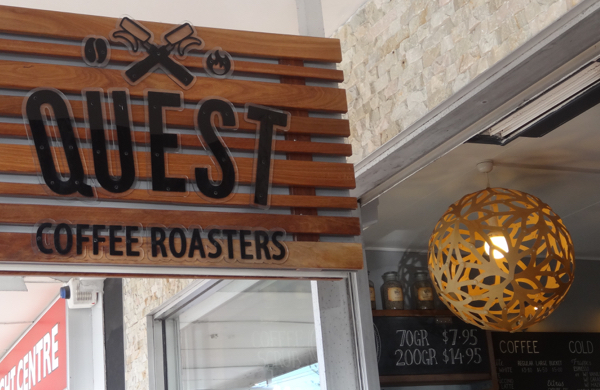 Quest Coffee Roasters, Burleigh Heads, best coffee on the Gold Coast, www.foodwinetravel.com.au, coffee roasters in Queensland, Incasa blend, PNG Kokoda, Mexico Oaxaca, Mexico Chiapas Decaf, Mazzer grinder, James Street shopping.