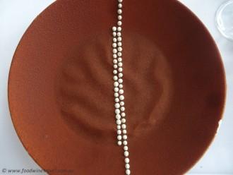 Aboriginal-inspired Daintree chocolate, wattleseed custard and vanilla curd dessert, created by Josue Lopez for GoMA restaurant in Brisbane's Gallery of Modern Art. Photo © www.foodwinetravel.com.au