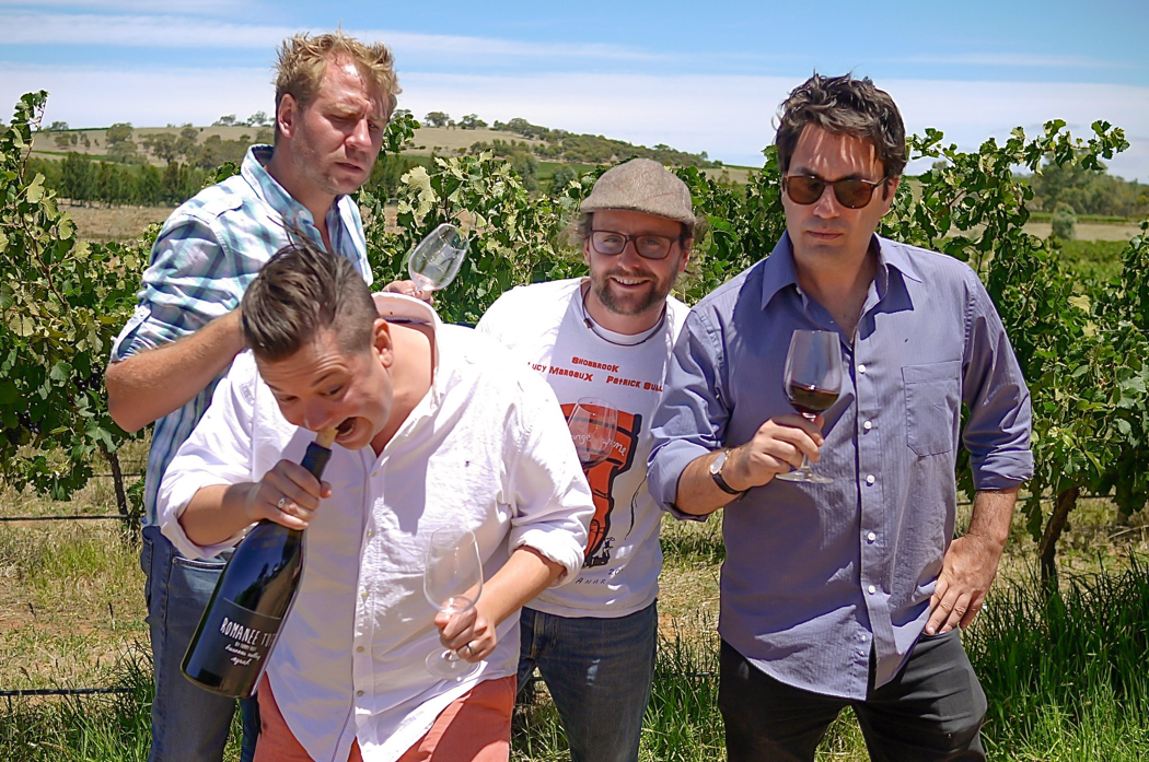 www.foodwinetravel.com.au, Plonk, Chris Taylor, Nathan Earl, Joshua Tyler, Georgie Lewin, wine comedy, comedy TV shows, road to plonk.