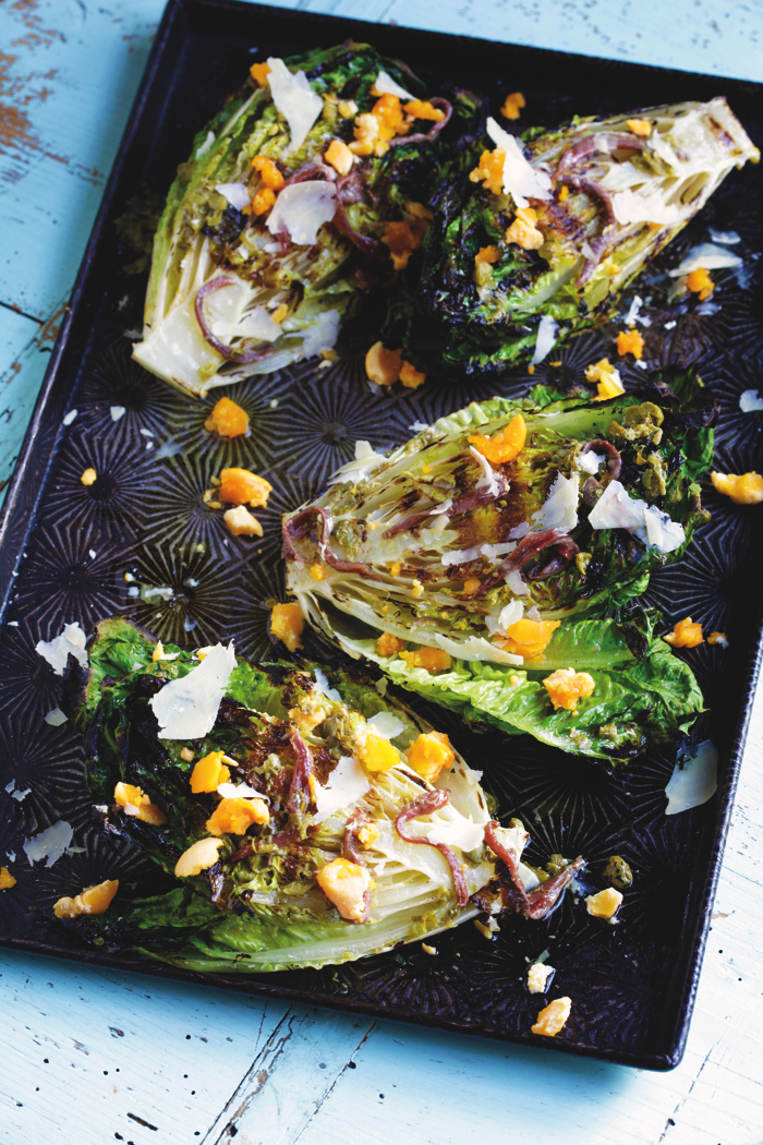 Grilled Baby Cos with Anchovies and Lemon, recipe from Outback Pantry: Food And Stories From Outback Australia, by Lynton Tapp. , from Outback Pantry: Food And Stories From Outback Australia, by Lynton Tapp.