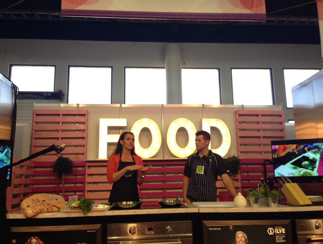 Dominique Rizzo on the Royal Queensland Food and Wine Show stage at Ekka