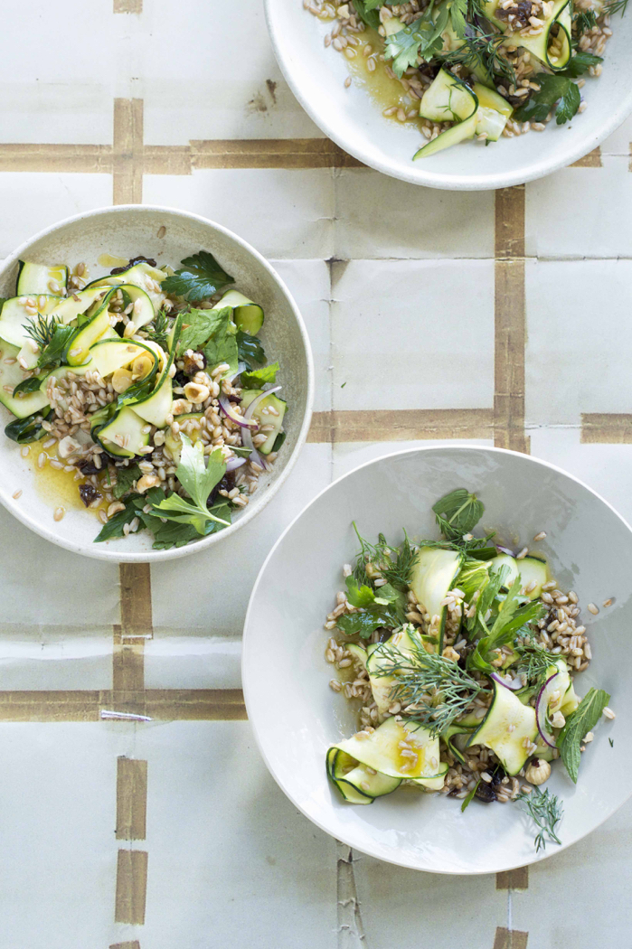 Zucchini & Farro Salad With Toasted Hazelnuts