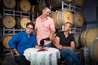 Plonk season two, Josh pouring wine for Chris while looking at Nathan at Ochota Barrels