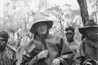 Red Professor pic p 7A - Fred Rose, stranded without radio contact at Umbakumba during a period of torrential rain