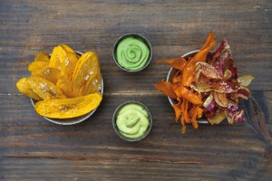 plantains chips avocado quezo fresco with herbs