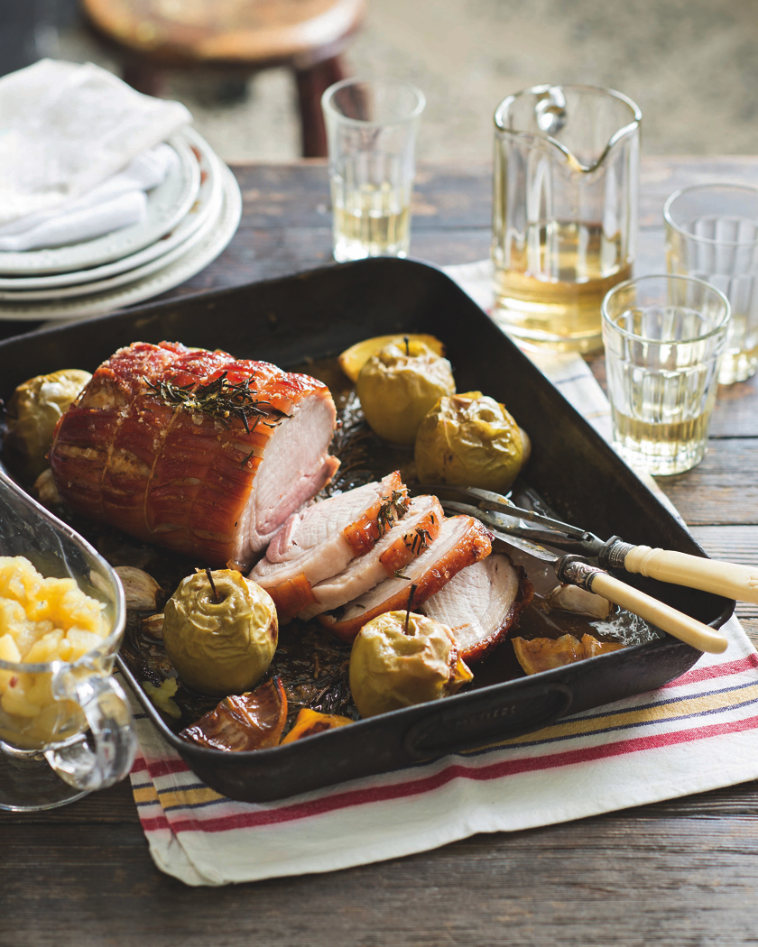 Apple Blossom Pie by Kate McGhie Recipe for Roast pork with cider and pan baked stuffed apples