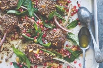 Dukkah lamb cutlets with mint & pomegranate salad, recipe from Falafel for Breakfast