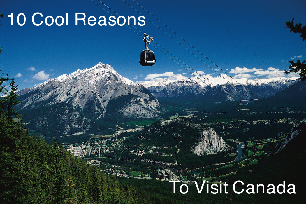 Banff Gondola with town of Banff in the background.