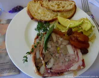 Pork & pistachio terrine, with the flavours of Southern Queensland Country.