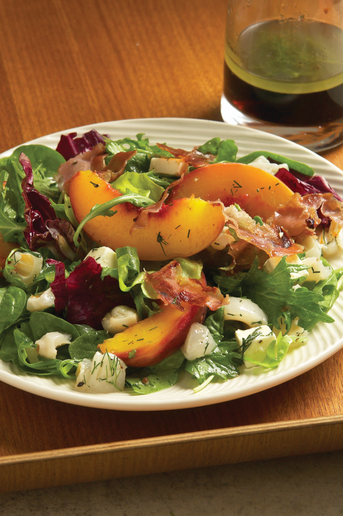 Recipe for Peach, Feta & Proscuitto Salad, Lime & Lychee Dressing, from The Best of Peter Howard