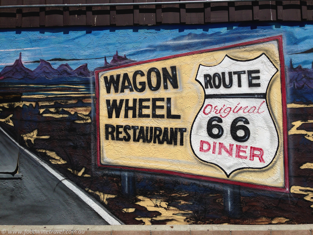 Route 66 Wagon Wheel Restaurant Sign