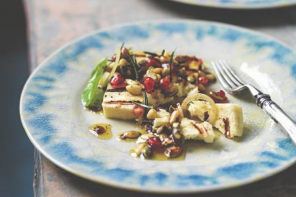 Grilled Haloumi with Pomegranate and Sumac Dressing Shane Delia Spice Journey Grilled Haloumi with Pomegranate and Sumac Dressing from Spice Journey Cookbook by Shane Delia