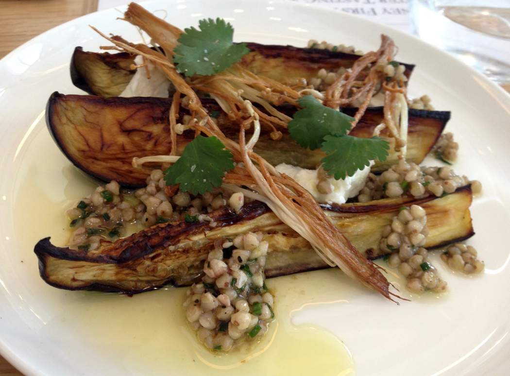 Grilled eggplant with goats curd, buckwheat, sesame vinaigrette and Enoki mushrooms