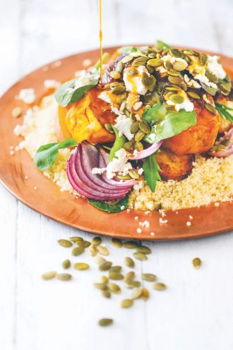 Food as Medicine roasted vegetables on couscous