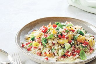Quinoa Flakes, Flour and Seeds Rena Patten recipe for Mango and Pomegranate Salad