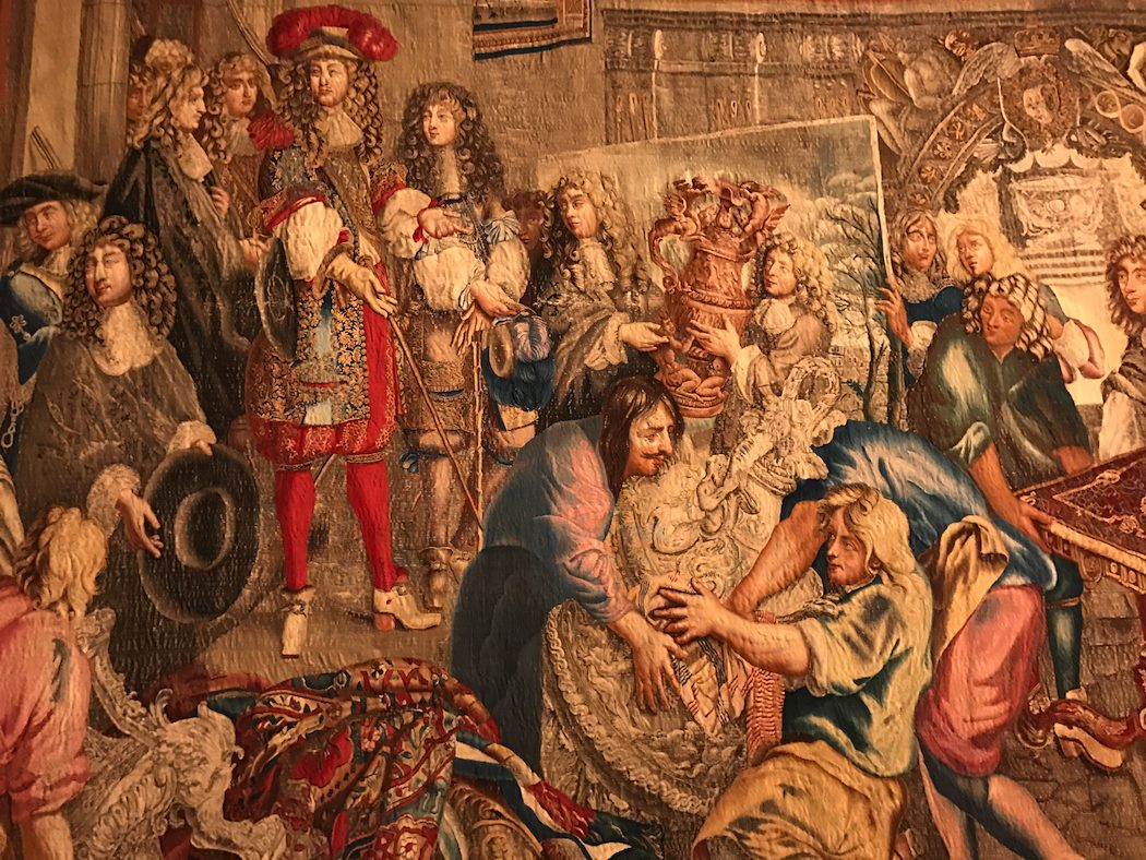 Detail from wool, silk and gold thread Gobelins Tapestry The King's Visit to the Gobelins Factory 1729 to 1734