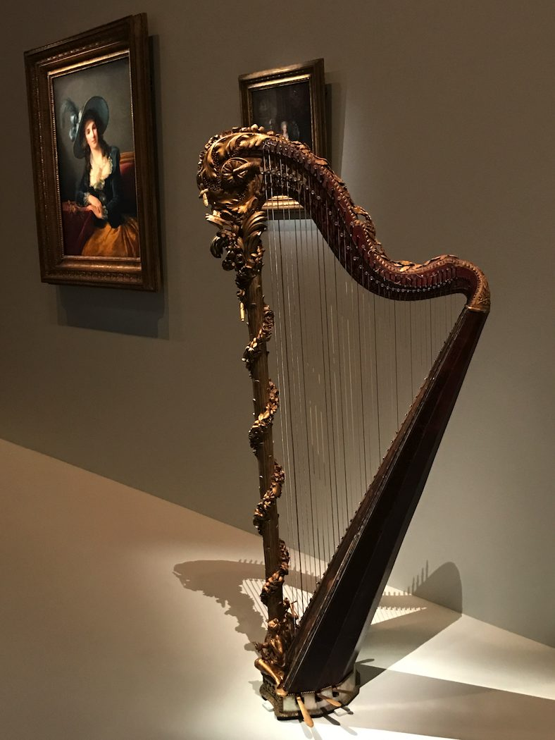 Marie-Antoinette's harp 1775 gilded and painted wood, metal, bronze, pearl and glass beads