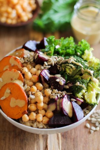 Love Beets Mixed Veggie Buddha Bowls with Honey Dijon Dressing