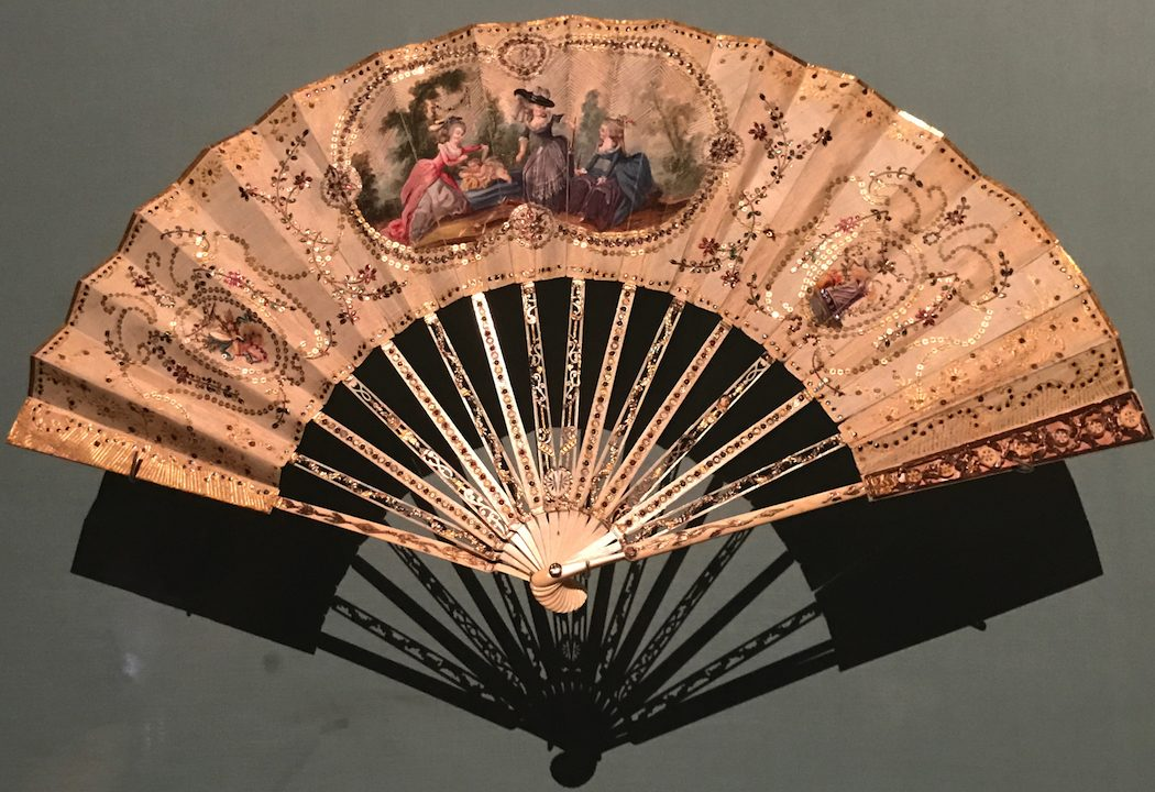 Paper and carved ivory fan 1776 to 1820