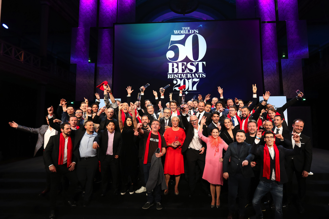 The winning chefs and restaurateurs celebrate at The World's 50 Best Restaurants awards ceremony at the Royal Exhibition Building, Melbourne