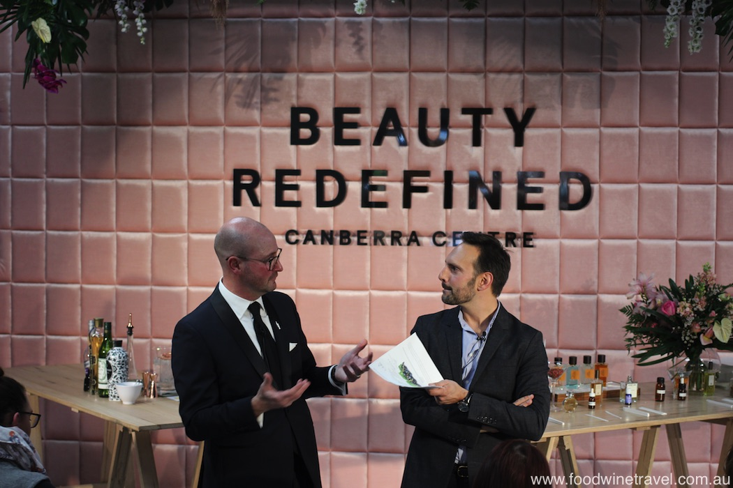 New Canberra beauty precinct Monaro Mall Martini Whisperer Philip Jones and fragrance expert Dimitri Weber.