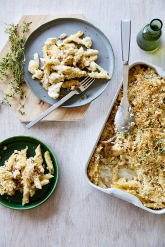 Penne Rigate with Bacon Cauliflower & Gorgonzola, from Tuck In, by Ross Dobson.