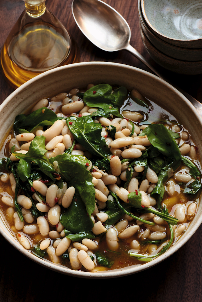 White beans with fennel seeds, chilli and rocket, from OnThe Side cookbook by Ed Smith