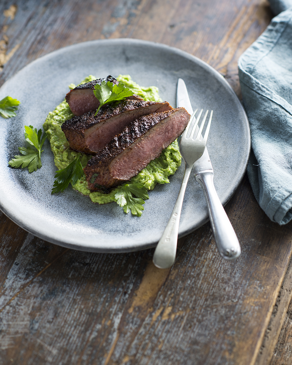 Sweet Spiced Lamb with Avocado Pea Crush, from The Good Carbs Cookbook.