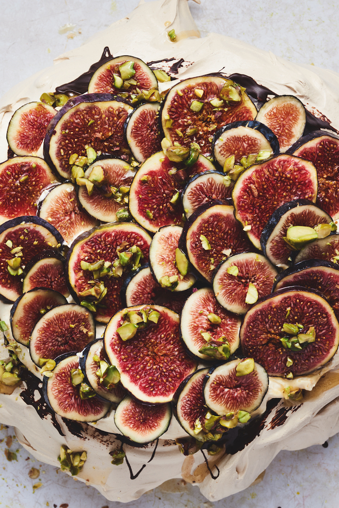 Cinnamon Pavlova with Praline Cream and Fresh Figs, from Sweet by Yotam Ottolenghi and Helen Goh