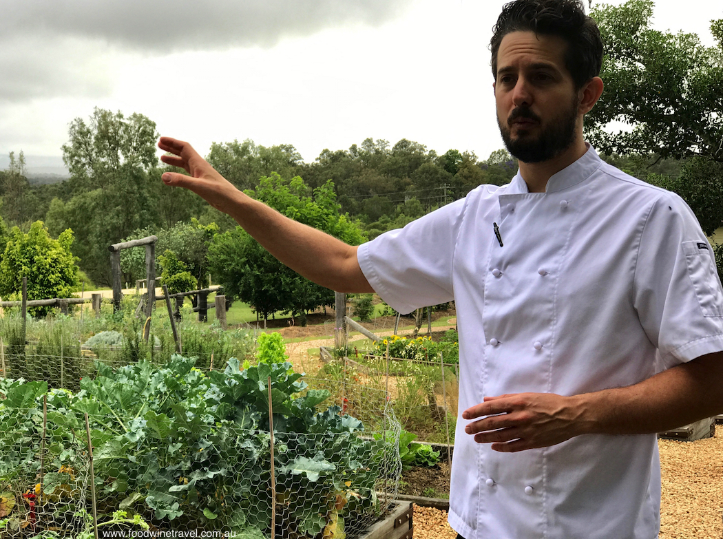 Chef Ash Martin in kitchen garden