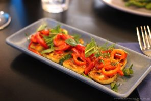 Saganaki (grilled haloumi with roasted sweet peppers, dressed with lemon, olive oil, dill & mint) Podilato Restaurant Canberra