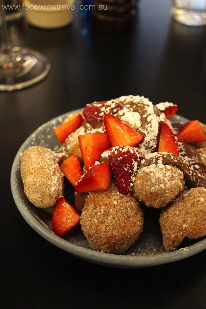 Seriously good Lokomades (mini doughtnuts rolled in cinnamon sugar, with Nutella and strawberries).